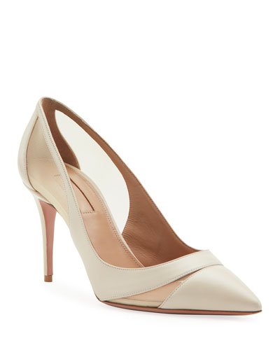 Savoy Napa & Mesh Point-Toe Pumps