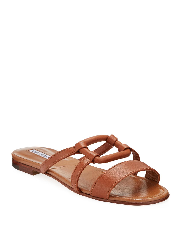 Oratasa Flat Leather Slide Sandals