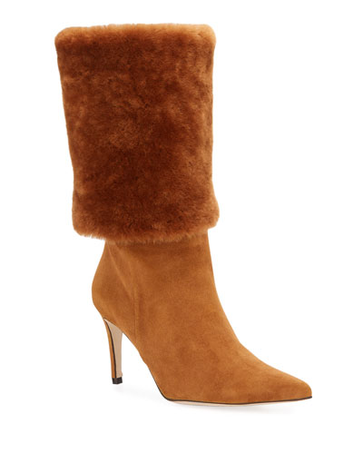 Eskimo Fur-Trim Stiletto Boots