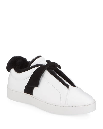 Clarita Fur-Lined Two-Tone Sneakers, White/Black
