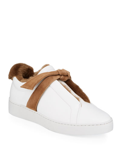 Clarita Fur-Lined Two-Tone Sneakers, White/Brown