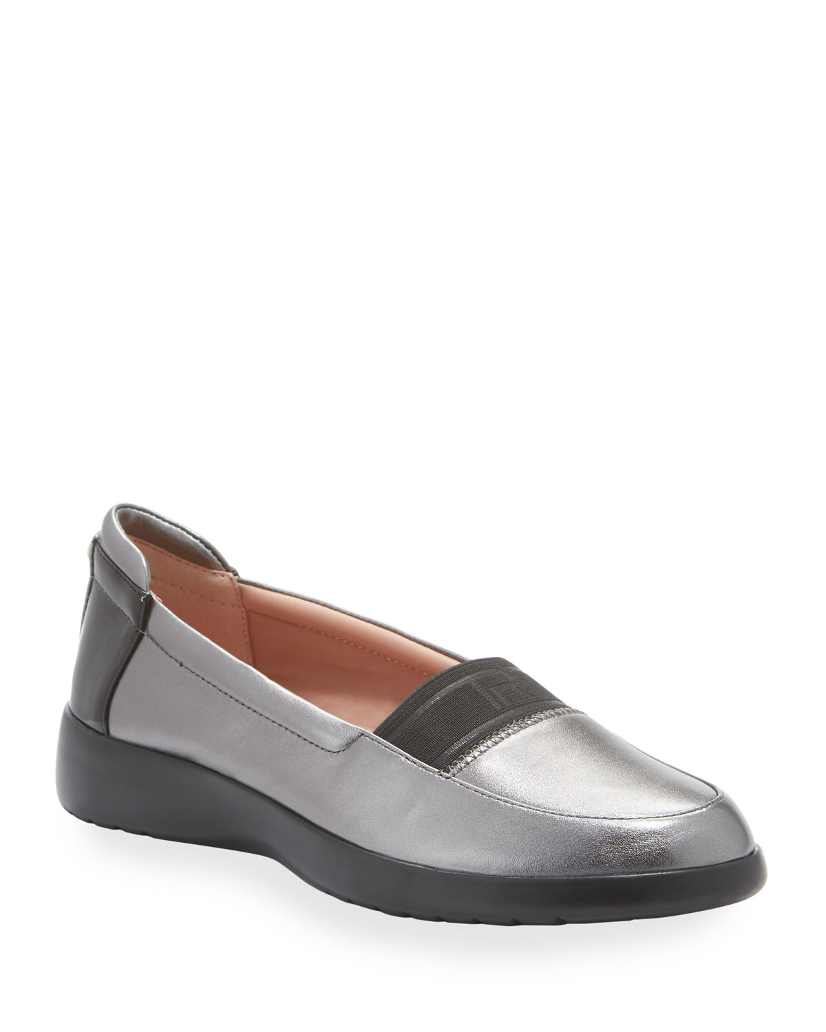 Taryn Rose Flats TIFFANY WEATHERPROOF METALLIC LEATHER COMFORT SLIP-ON FLATS