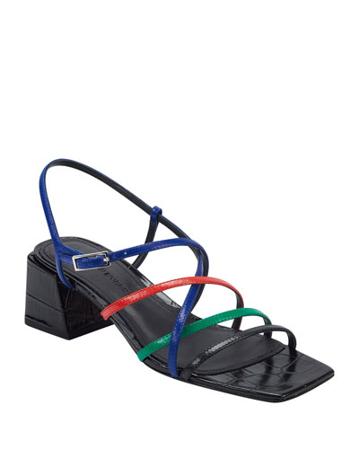 Ellia Crisscross Colorblock Leather Strappy Sandals