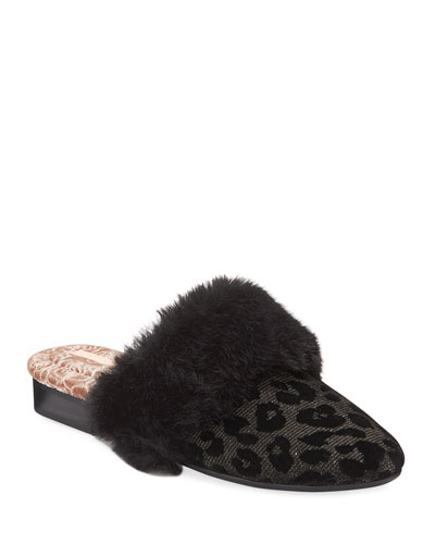 Bev Leopard Velvet House Slippers