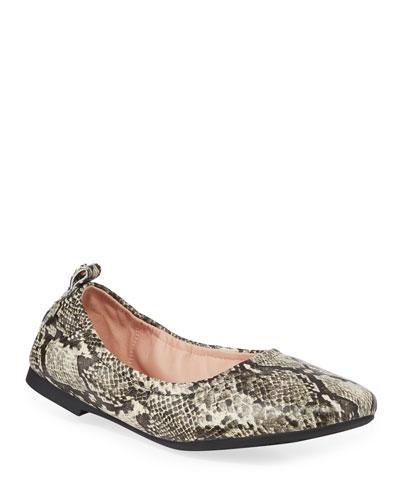 Raquel Weatherproof Snake-Print Leather Ballet Flats