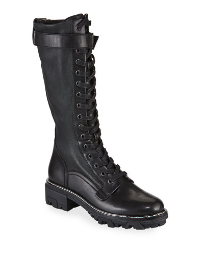 Shiloh Tall Leather Combat Boots