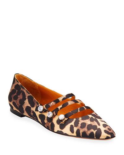 Nola Strappy Leopard-Print Ballet Flats