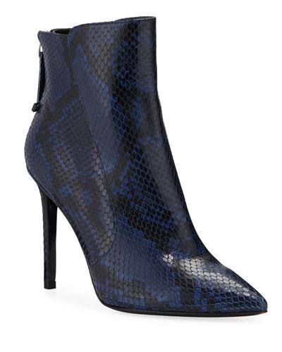 Jovanna Snake-Embossed Leather Stiletto Booties