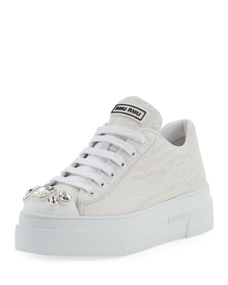 Miu Miu Crocodile-Embossed Platform Sneakers