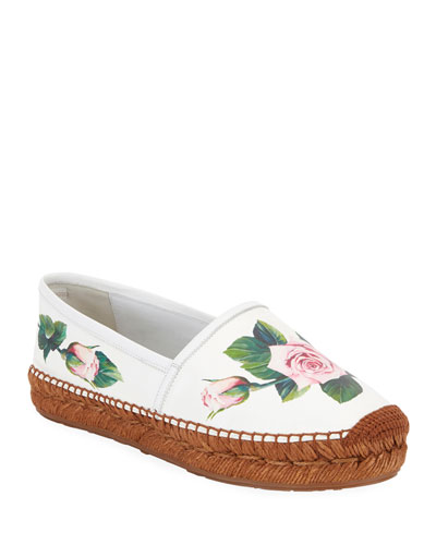 Flat Rose Printed Leather Espadrilles