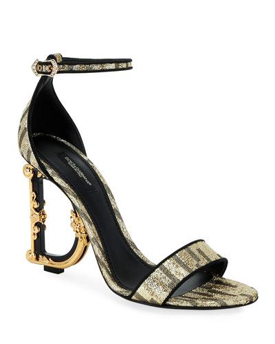 Metallic Fabric Sandals with Logo Heel