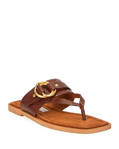 Flat Exotic-Print Sandals
