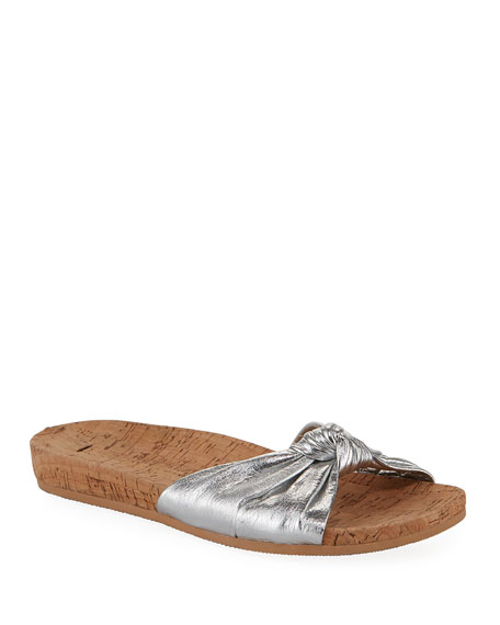 Veronica Beard Tilly Metallic Leather Slide Sandals