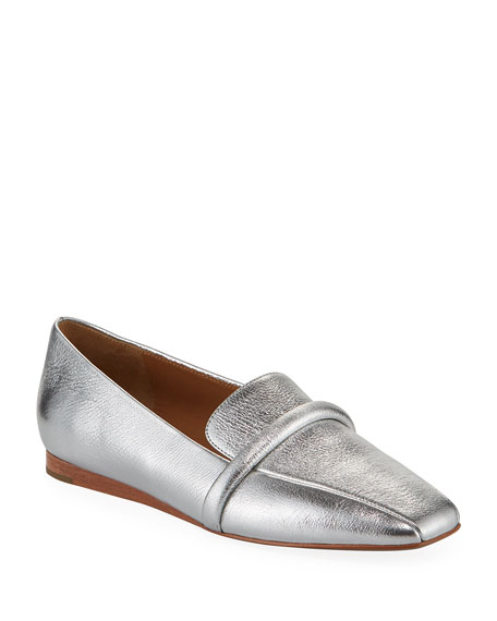 Veronica Beard Grier Metallic Leather Loafers