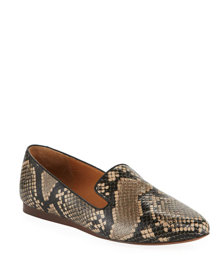 Veronica Beard Griffin Python-Print Leather Loafers