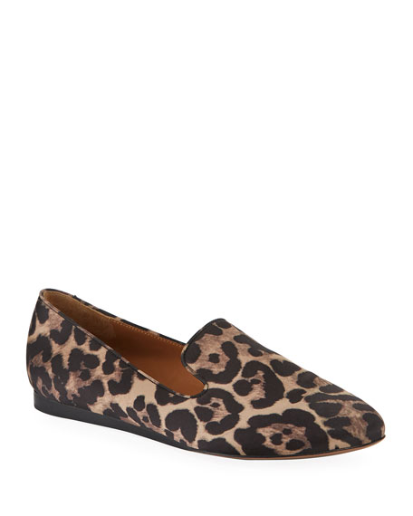 Veronica Beard Griffin Leopard-Print Satin Loafers
