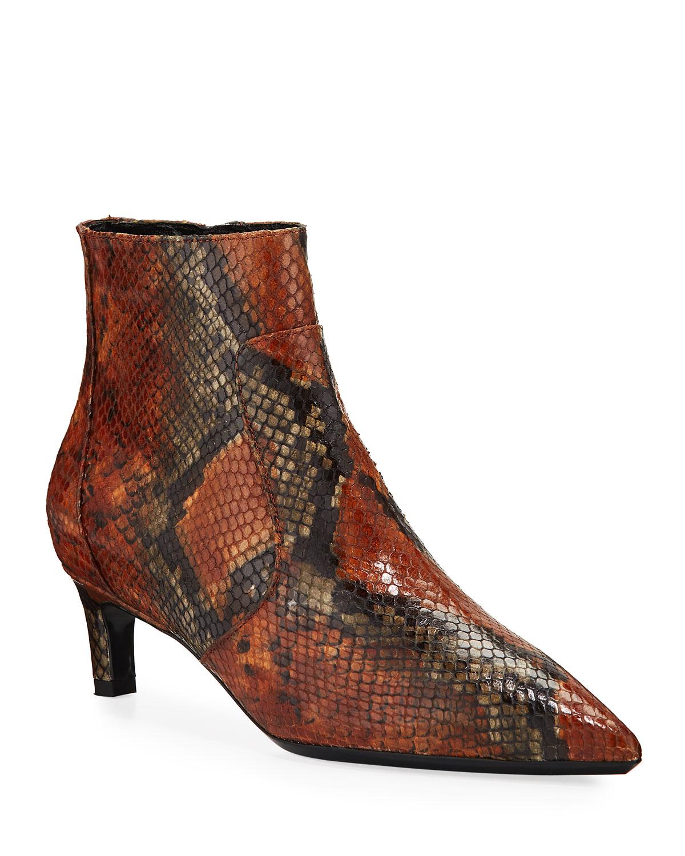 Marilisa Snake-Print Leather Booties