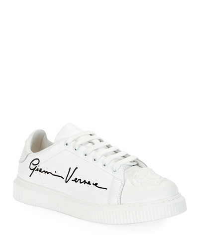 Leather Sneakers with Signature Print