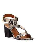Chloe Candice Snake-Print Twisted Ankle-Wrap Sandals