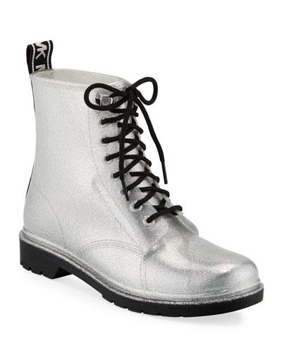 Tavie Metallic Combat Rain Boots
