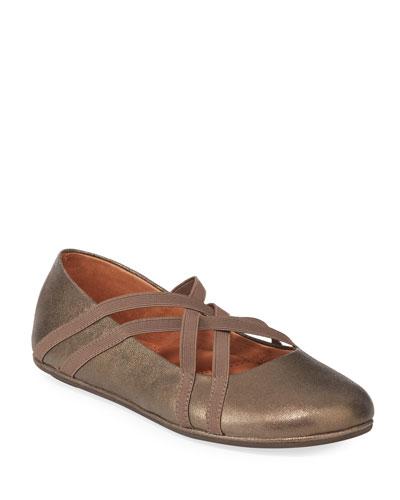 Elba Elastic Metallic Leather Ballet Flats