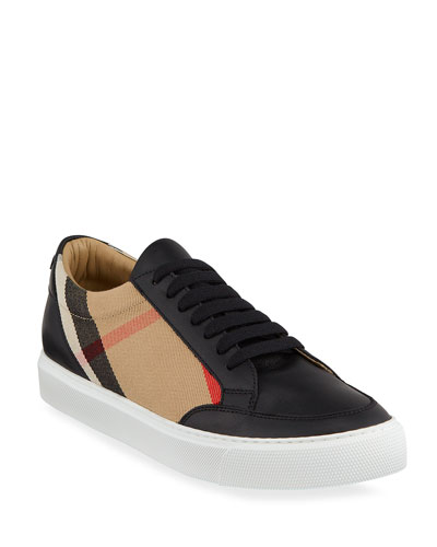 New Salmond Check Leather Sneakers