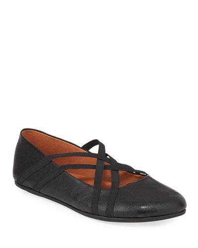 Elba Elastic Leather Ballet Flats