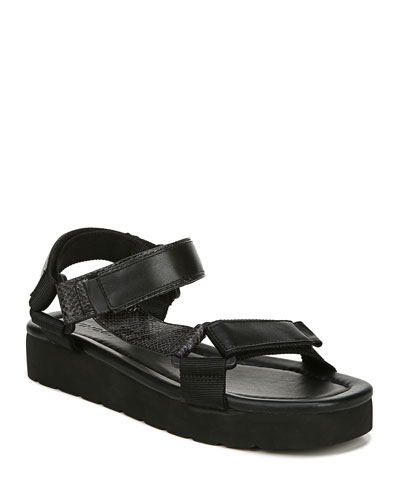 Carver Leather Flatform Sport-Strap Sandals