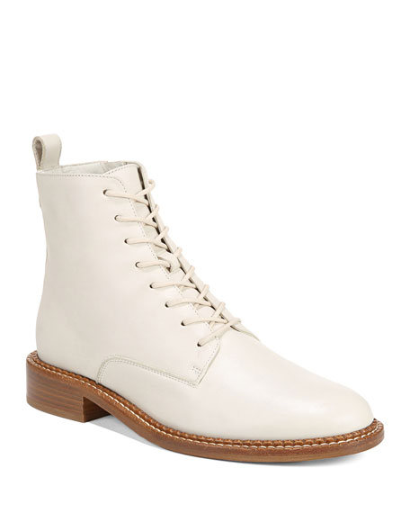 Vince Cabria Leather Combat Lace-Up Booties
