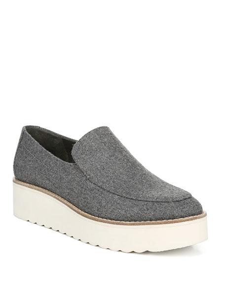 Vince Zeta Flannel Flatform Slip-On Loafers