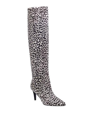 Ginniely Leopard Calf Hair Knee Boots