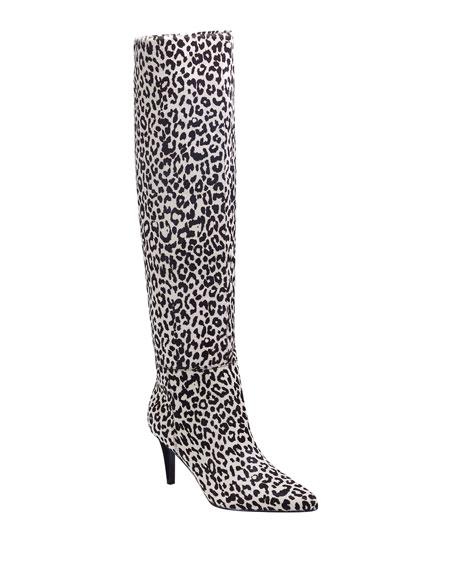 Marc Fisher LTD Ginniely Leopard Calf Hair Knee Boots