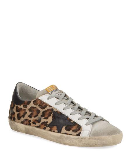 Golden Goose Superstar Leopard Calf Hair Sneakers
