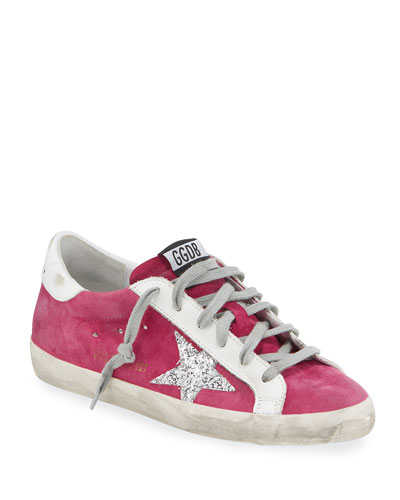 Superstar Suede Sneakers with Glitter Star