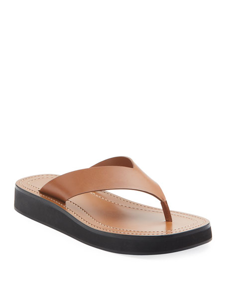 THE ROW Ginza Flip-Flop Smooth Calfskin Sandals