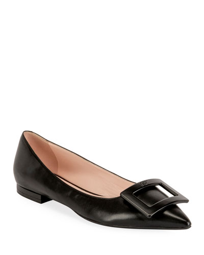 Gommettine Leather Ballet Flats with Tonal Buckle