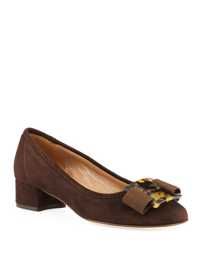 Huga Low-Heel Suede Ornament Pumps