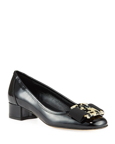 Huga Low-Heel Patent Ornament Pumps