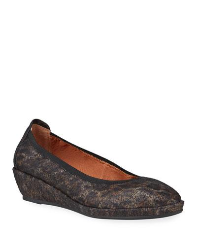 Natalie Leopard Comfort Wedge Ballet Flats
