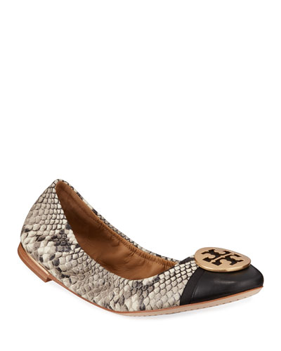 Minnie Cap-Toe Snake-Print Ballet Flats