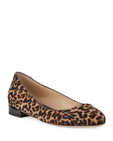 Jimmy Choo Jessie Leopard-Print Ballerina Flats