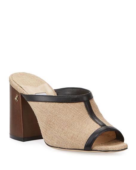 Jimmy Choo Joud 85mm Jute Mule Sandals