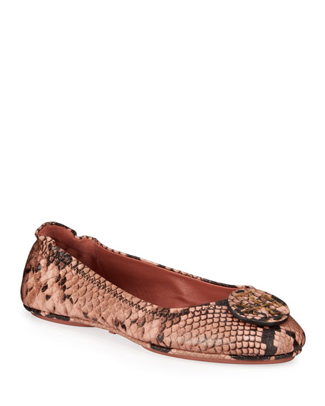 Tory Burch Minnie Travel Snake-Print Ballet Flats