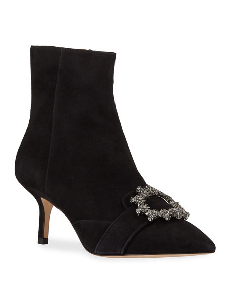 Tory Burch Suede Crystal Ankle Booties