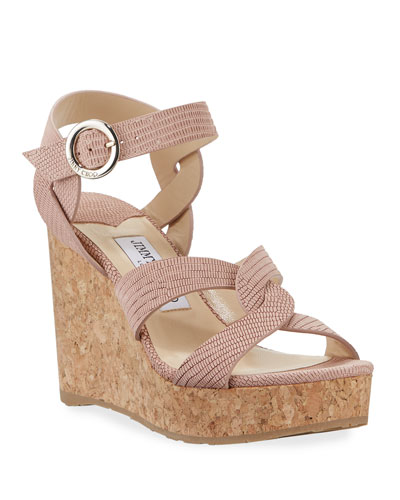Aleili 100mm Snake-Print Leather Wedge Sandals
