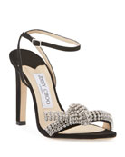 Jimmy Choo Thyra 100mm Suede Sandals With Crystal