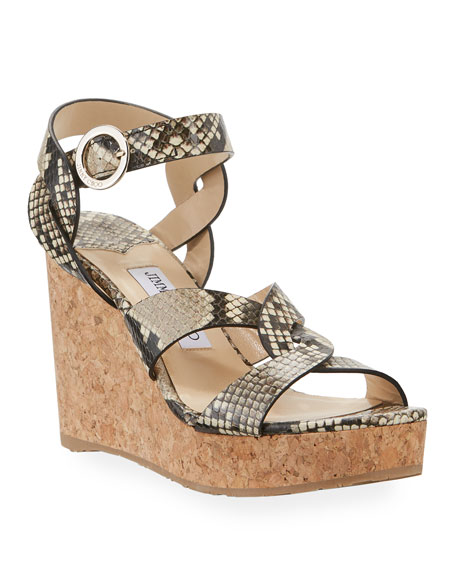 Jimmy Choo Aleili Snake-Print Leather Cork Wedge Sandals