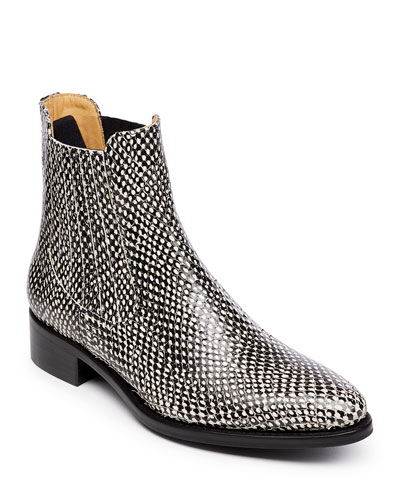 Mr. Jagger Snake-Print Chelsea Boots