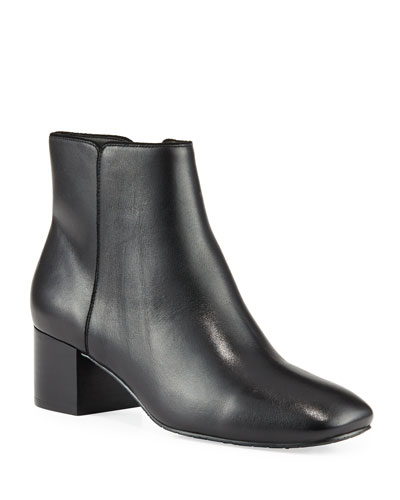 Cyrus Low-Heel Leather Booties