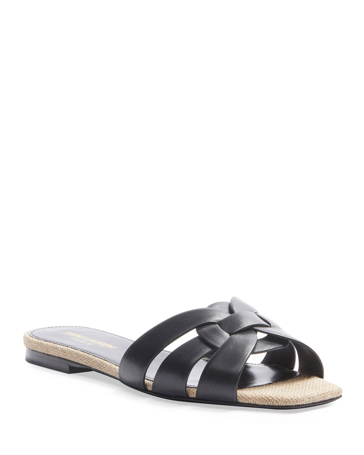 Saint Laurent Flats TRIBUTE FLAT LEATHER SLIDE SANDALS WITH ROPE FOOTBED